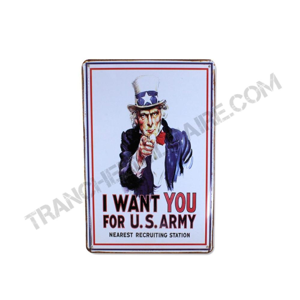 Plaque I WANT YOU en métal