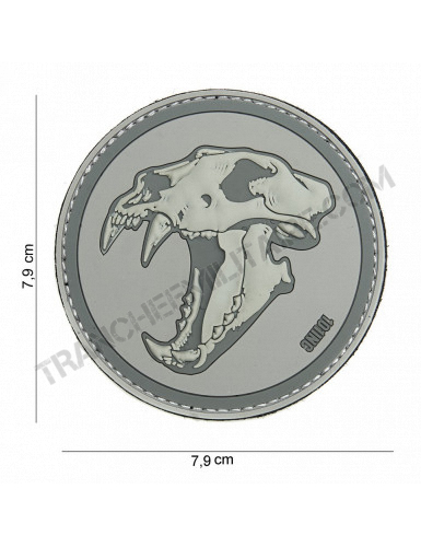 Patch 3D PVC Tigre aux dents de sabre (gris)