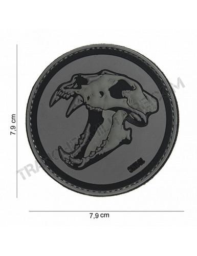 Patch 3D PVC Tigre aux dents de sabre (gris/noir)