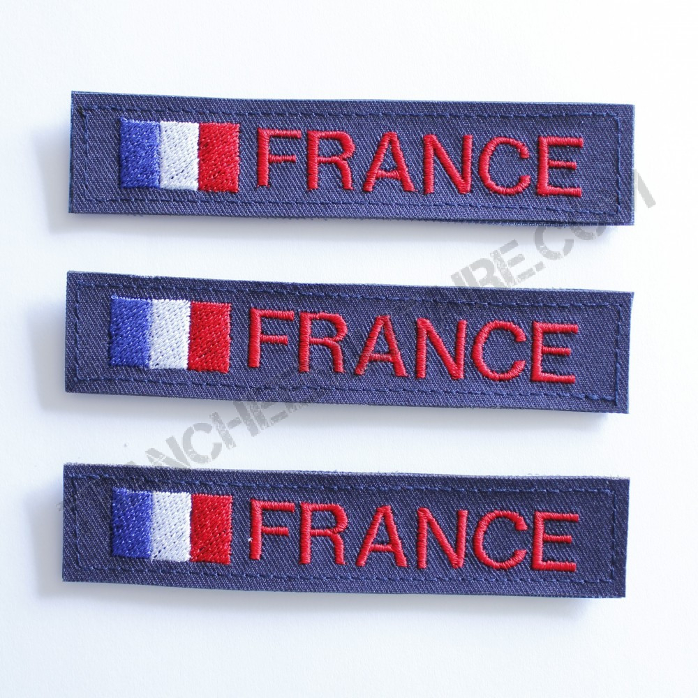 Lot de 3 bandes patronymiques personnalisables France (fond bleu)