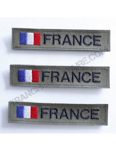 Lot de 3 bandes patronymiques personnalisables France (fond kaki)