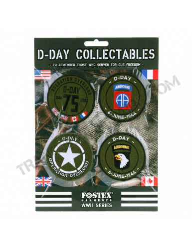 Lot de 4 patchs D-Day collector