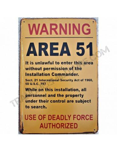 Plaque Warning Area 51 (en métal)